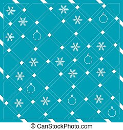 Pattern of diagonal stripes or lines in nice colors with snowflakes and Christmas balls. Abstract grid texture.