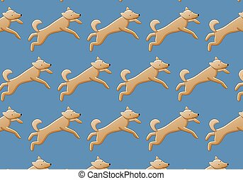 Pattern of dogs on a blue background