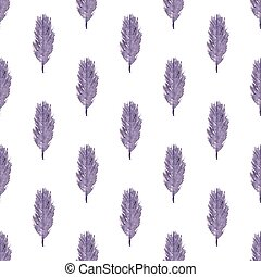 Pattern of ethnic feathers. Ethnic seamless pattern in native style. Violet feathers on white background. Vector illustration.