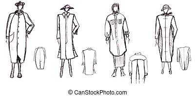 pattern of female demi-season coat - sketch of fashion model...