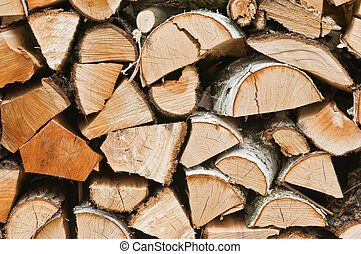 pattern of firewoods stack closeup