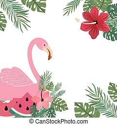pattern of flemish with summer flowers vector illustration design