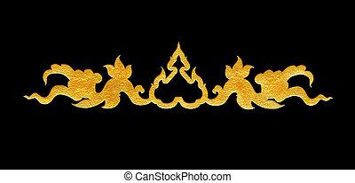 Pattern of flower carved frame on black background