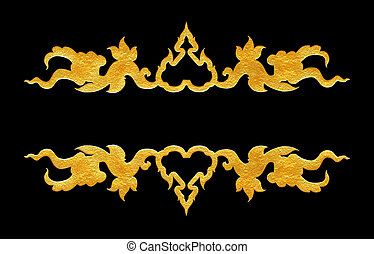 Pattern of flower carved frame on black  background