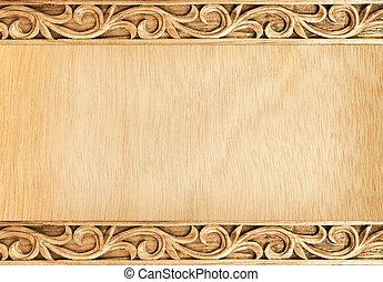 Pattern of flower carved frame on wood background