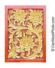 Pattern of flower carved on white background