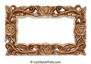 Pattern of flower carved wooden frame