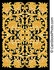 Pattern of flower wooden carved on black background.