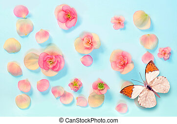 pattern of flowers and butterfly on a blue background