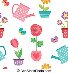 Pattern of flowers in pots and watering cans