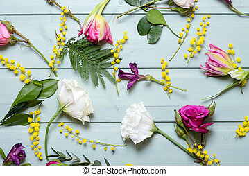 Pattern of Flowers on vintage wood background