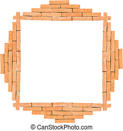 Pattern of frame brick wall on white background