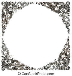 Pattern of frame carved wall sculpture on white background