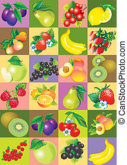 Pattern of fruit and berries.