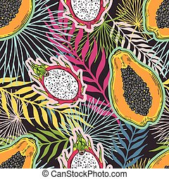 Pattern of fruits papaya and pitaya on the color of the tropical leaves. On a black background.