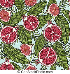 Pattern of fruits pomegranate and fig on the color of leaves. On a blue background.