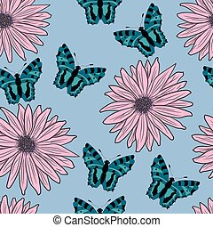 pattern of gerberas and butterflies. vector illustration. Drawing by hand.