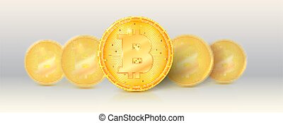 Pattern of gold cryptocurrencies with golden bitcoin symbol. Crypto currencies stay in line. Vector 3d illustration.