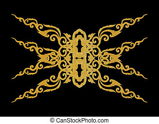 Pattern of gold metal frame carve flower on black background