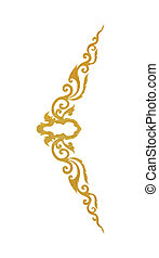 Pattern of gold metal frame carve flower on white background