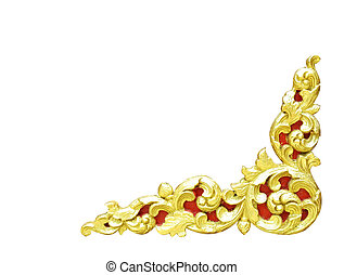 Pattern of gold wood frame carved flower isolated on white background.
