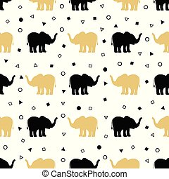 pattern of golden and black elephants