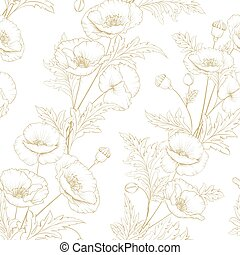 Pattern of golden poppy flowers on a white background.
