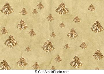 Pattern of golden sand pyramids on a beige banner background. Minimal Africa background texture. Creative layout.