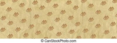 Pattern of golden sand pyramids on a beige banner background. Minimal tourism background texture. Creative layout.