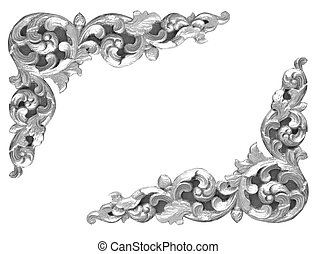 Pattern of gray wood frame carved flower isolated on white background.