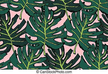 pattern of green leaflet. in style Sketch.