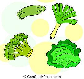 pattern of green vegetables on a light background. Vector illustration.
