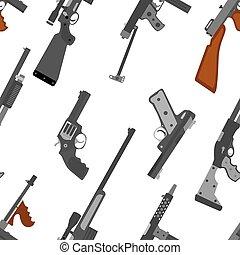 Pattern of guns. Machine gun, rifle, revolver, pistol, shotgun a