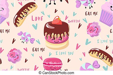 pattern of hand drawn cakes, candies, macaroons, cupcakes, sketch vector illustration. Seamless pattern, backdrop, background, wrapping paper, textile design with various sweets and desserts.