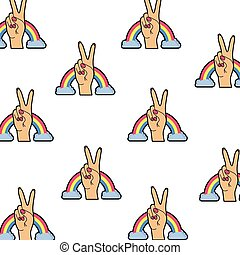 pattern of hand with peace sign and love