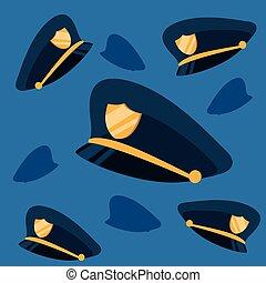 pattern of hats police backdrop