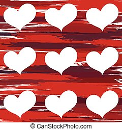 Pattern of hearts on a red background