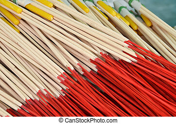 Pattern of joss stick outside of temple in Thailand