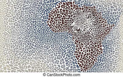 Vector Illustration Leopard Fur and Face on Africa map