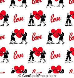Pattern of lovers.Seamless pattern for Valentine's Day. A guy and a girl are holding a broken heart.Vector