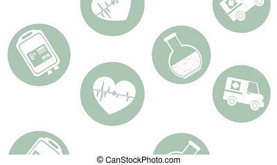 pattern of medical set icons animation