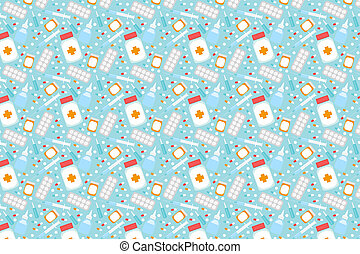 Pattern of medications and pills. Blue medical background