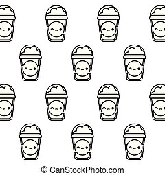 pattern of milkshakes kawaii style
