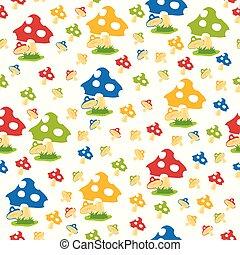 pattern of mushroom set illustration on white background
