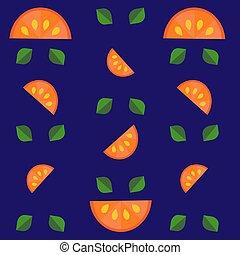 Pattern of oranges on a dark blue background