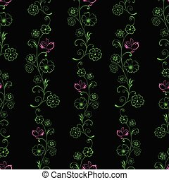 Pattern of outlines of decorative flowers and birds