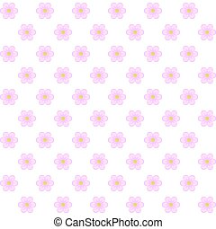 Pattern of pink flowers on a white background.