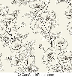 Pattern of poppy flowers on a gray background.