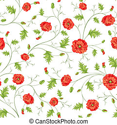Pattern of poppy flowers on a white background. Vector...