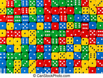 Pattern of random ordered red, yellow, green and blue dices